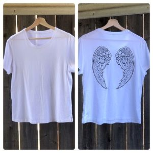 White T-shirt with wings on back, Size Large